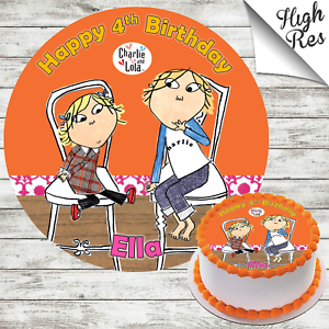 CHARLIE AND LOLA ROUND EDIBLE BIRTHDAY CAKE TOPPER DECORATION PERSONALISED