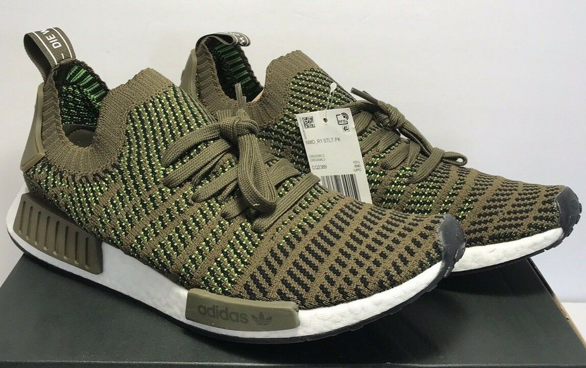 Adidas Mens Size 13 NMD R1 STLT PK Boost Running Trace Olive Black shoes CQ2389