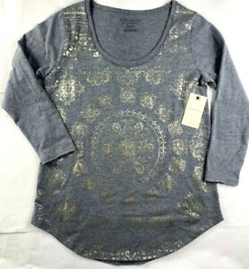 NWT-NEW-Womens-Lucky-Brand-Gray-With-Shiny-Foil-Design-T-Shirt-Top-Tee