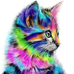 Colorful-Cat-DIY-5D-diamant-broderie-Diamond-Dog-animal-Peinture-Point-de-Croix