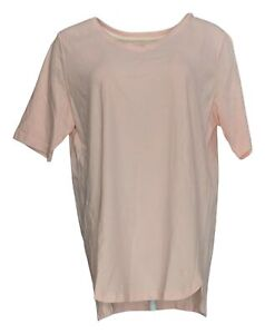 Isaac Mizrahi Live! Women's Top Sz L Pima Cotton V-Neck Elbow Slv Pink A379612