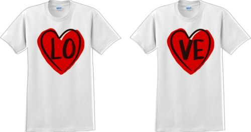 Couple Matching T-shirt Love Tshirt LO VE Valentine/'s Day Couple Shirts V-Day