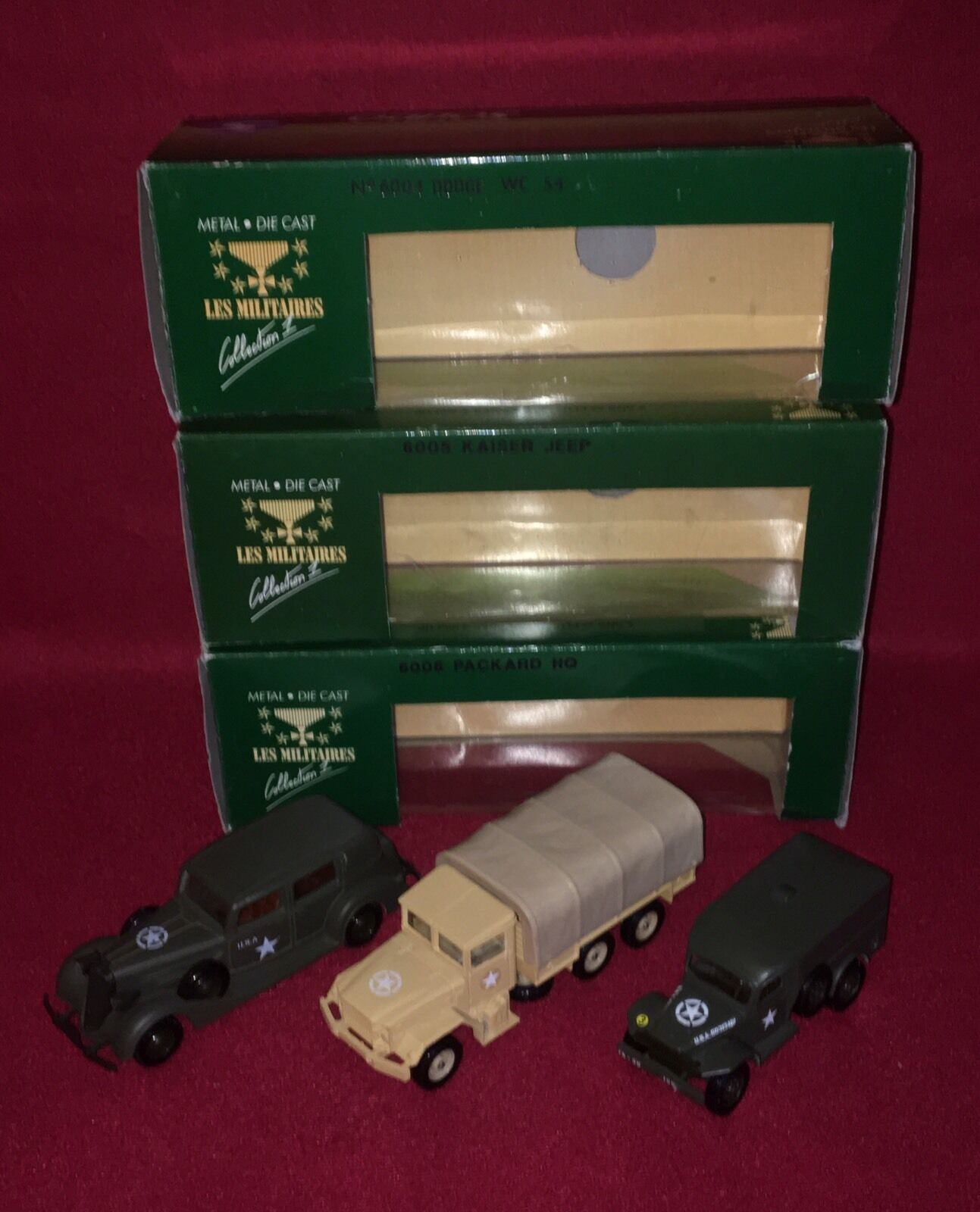 3 Solido  Dodge WC-54  6004, Kaiser Jeep 6005 & Packard sede Coche  6006 con cajas