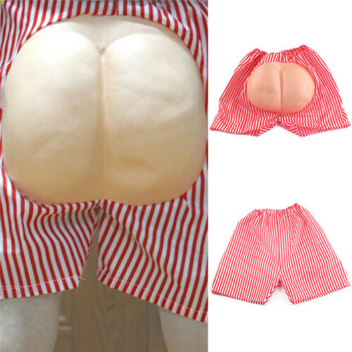 Fake Bottom Butt Ass Arse Buns RedStriped Boxer Costume Halloween Party Dress S!