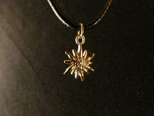 Flor de Edelweiss remolque con cadena 24 quilates dorado oro floración flor primavera