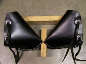 Horse Saddle Leather Tapaderos Bush Rider with Stirrups Adult Size Black Color