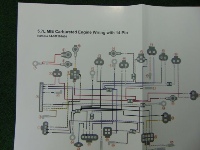 Mercruiser 5 7 Mie Carbureted Engine Wiring With 14 Pin