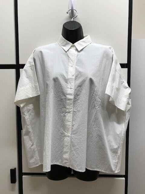 Veritecoeur Cotton Weiß Collar Short Sleeve Boxy Crop Shirt Top
