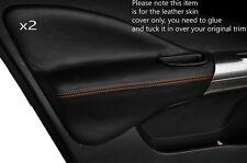 Puntadas de hilo naranja 2x Frontal Puerta Tarjeta Ribete Cuero Skin cubre encaja Nissan Juke 10-15