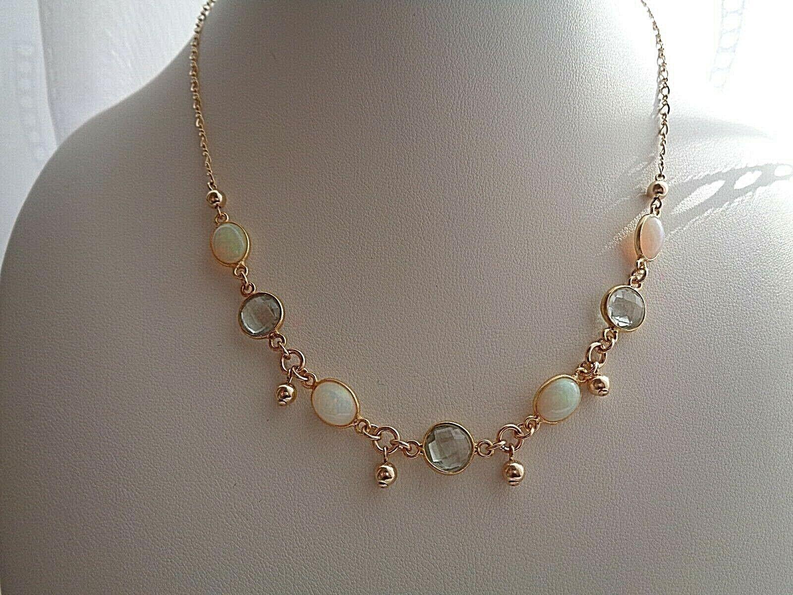 Kette mit Opal und grünem Amethyst, 585 Gold Filled, zartes,edles Design