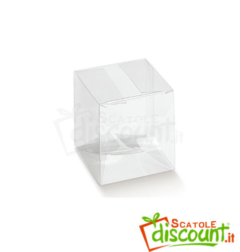 10 boxes SUGARED Transparent PVC Wedding Birth Communion 5x5x5 cm