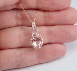 Morganite-amp-Diamond-2-60Ct-14k-Rose-Gold-Over-Women-039-s-Pendant-18-034-Chain-Necklace