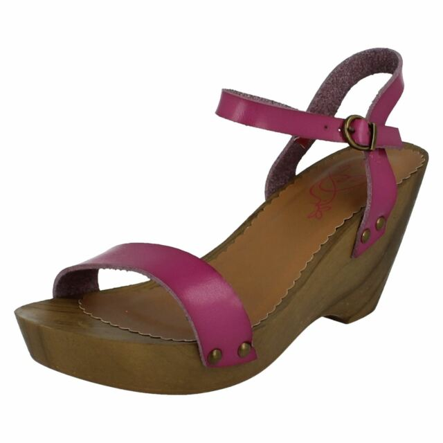 59b12355bd6837    Ladies Spot on Wooden Wedge Ankle Strap Sandals F10143 3 Colours Fuchsia  UK 4 for sale online