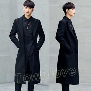 New Korean Men Jacket Full Length Slim Wool Blend Super Long Trench Coat Outwear Ebay