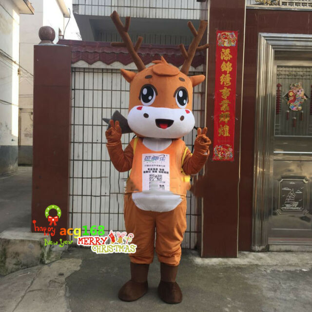 Christmas Deer Mascot Costume Reindeer Adult Animals Cosplay Props Unisex Parade