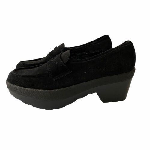 Robert Clergerie Black Suede Platform Loafers 6