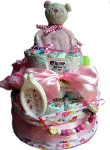 Hochwertige XXL Windeltorte für Mädchen Girls  rosa Geschenke Taufe Geburt