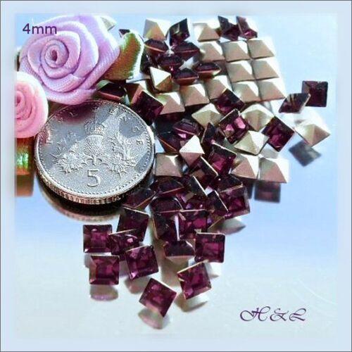 *50 Swarovsky Vintage Amethyst 4mm Xilion 4428 Square Crystal Silver Foil point