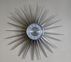 Karlsson Starburst Wall Clock In Silver Sunburst Retro