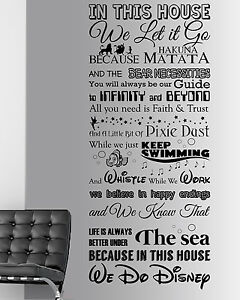 Image is loading We-Do-Disney-Style-Quote-In-This-House-  sc 1 st  eBay & We Do Disney Style Quote In This House Rules Vinyl Wall Art Sticker ...