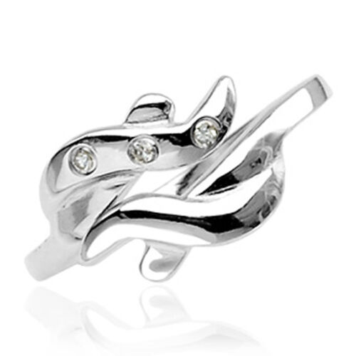 .925 Sterling Silver Adjustable Toe Ring with CZ and Wave Design