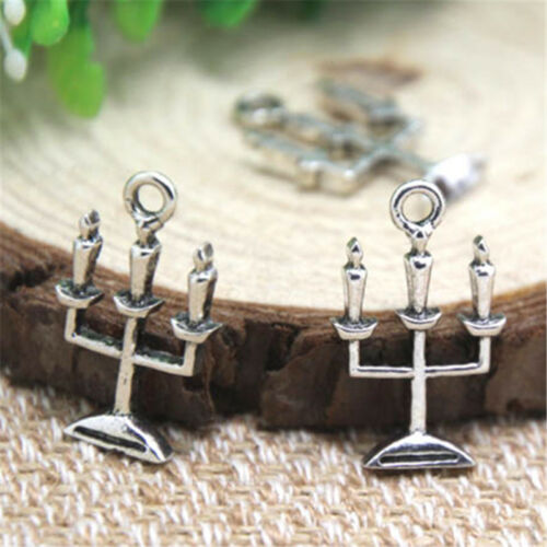 20pcs Spooky CANDELABRA Haunted House Charms silver tone pendant 24 x14mm
