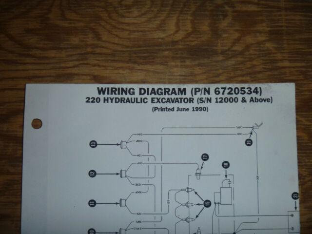 Bobcat 220 Hydraulic Excavator Electrical Wiring Diagram Schematic Manual 12000