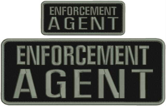 ENFORCEMENT AGENT embroidery patches 4x10 and 2x5 hook on back grey
