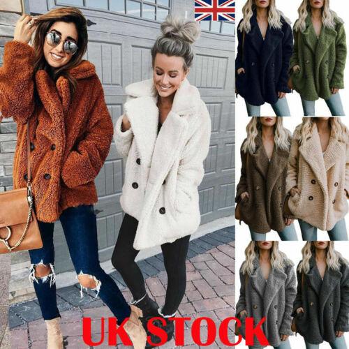 Fashion Womens Button Fluffy Jacket Cardigans Ladies Warm Jumper Fleece Fur Coat