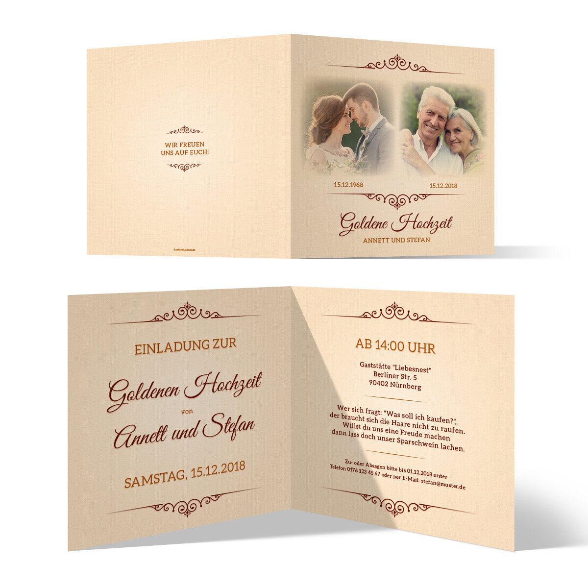 Goldene Hochzeit Einladungskarten Goldhochzeit 50 Jahre - Zeitsprung | Die Königin Der Qualität  | Online Shop Europe