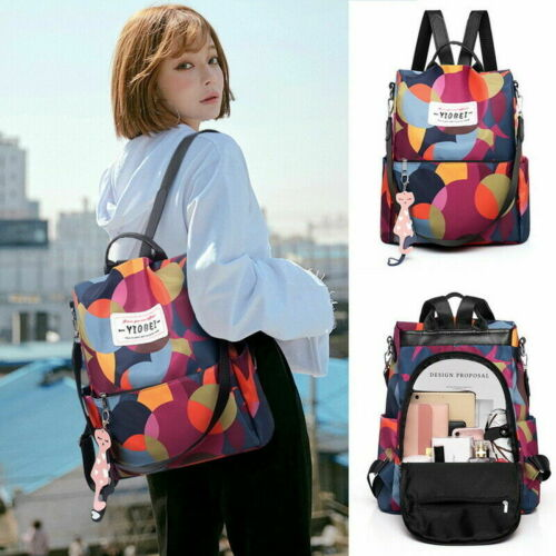 Details about  /Womens Waterproof Anti-theft Backpack Rucksack Shoulder Nylon Bag Free Shipping