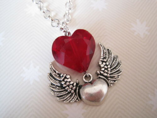 *HEART WINGS RED GLASS HEART GEM* SP Chain Necklace Gothic NEW GIFT Rockabilly