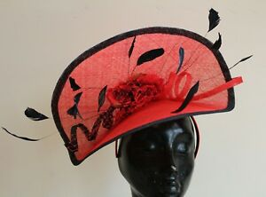Image is loading Ladies-large-red-amp-black-hatinator-hat-Ascot- 3e677bb713f