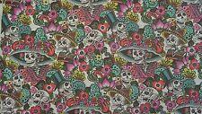 Alexander henry folklorico Catrina chiquita skull mexican white fabric fq