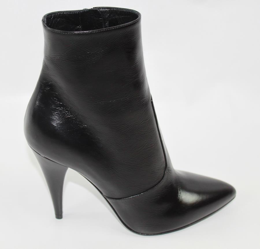 AUTH YSL Saint Laurent Women Black Leather Boot 38