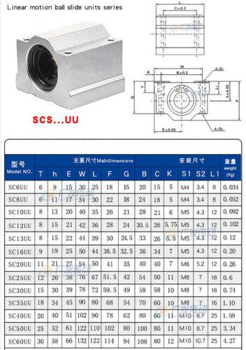 Linear Motion Ball Bearing Slide Pillow Block SC-UU 6mm-40mm 3D Printer CNC