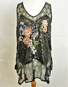 03 Size 16 Rrp Lace Uk £50 Embroidery Top Black Next Ww Sequinamp; Dh180 LUMGSzVjqp