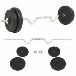vidaXL-Barbell-Set-30kg-Curl-Bar-Weight-Plate-Gym-Training-Exercise-Equipment