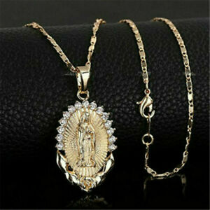 Gold-Virgin-Mary-Pendant-Necklace-Overlay-Catholic-Religious-Womans-Jewelry-Gift