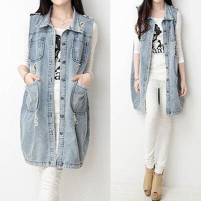 Stylish Frayed Womens Pockets Lapel Long Denim Vest Jean Jacket Trench Outerwear