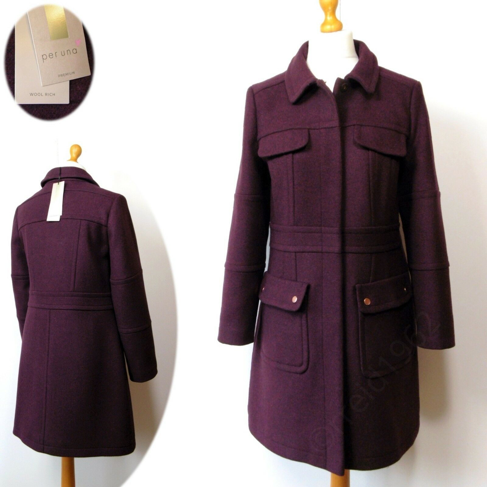 PER UNA Premium WOOL Rich TAILORED Knee Length COAT  Size 18  BURGUNDY