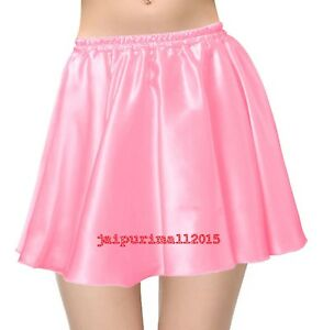 SALMONWomen Lady Satin Shiny Mini Skirt Pleated Retro High Waist Club S~3XL