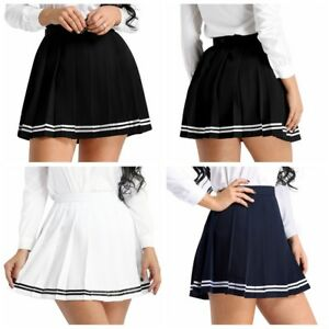 9840f35519 Image is loading Women-Japanese-School-Girl-Tennis-Pleated-Mini-Skirt-