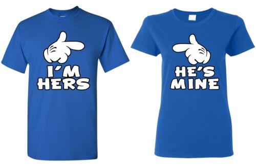 Couples Matching Shirts I/'m Hers /& He/'s Mine Anniversary Gift Valentines Day