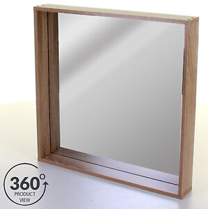 Bathroom Mirror With Shelf Wall Mounted Wood Effect Framed Mirror