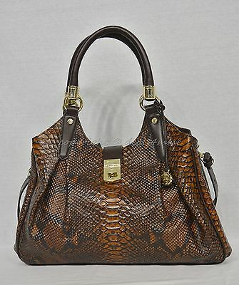 NWT Brahmin Elisa Satchel Shoulder Bag Tortoise Seville Brown Embossed  Leather 6317e185a6f61
