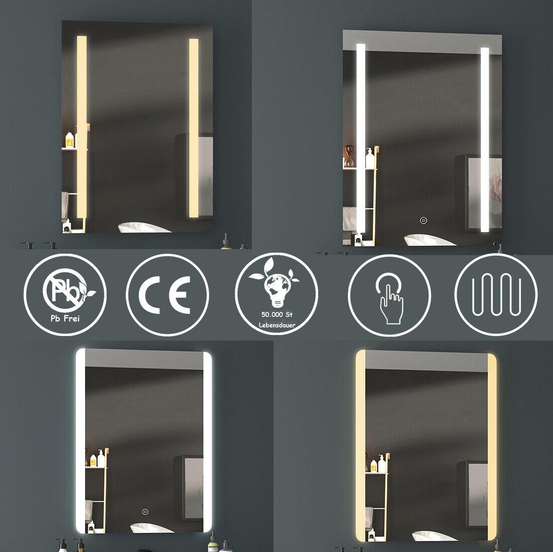 LED Badspiegel 50x70 60x80 Badezimmerspiegel mit Beleuchtung Touch Beschlagfrei