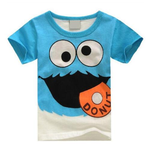 Kids Boys Girl Elmo T-Shirt Round Neck Summer Short Sleeve Casual Tee Shirt Tops