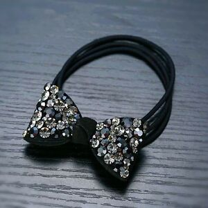 Details about QUALITY Hair Rope Band use Swarovski Crystal Hairpin Ponytail  Holder Bow Gray 5083b159682
