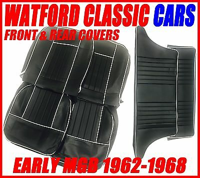 MGB Seat Covers Front /& Rear 1962-1968 Leather look Black with White Piping